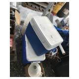 Lot with Coleman coolers, plastic buckets, ropes,