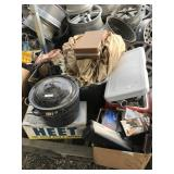 Large lot with cooking pan, music cassettes, pocke
