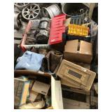 Large lot with greaser, pants, fishing gear, books