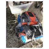 Plastic tote with back pack, fishing gear, tackle