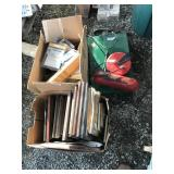 Lot with camping stove, fishing gear, sand paper,