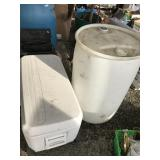Lot of 2: one is  plastic 55 gallon barrel and the
