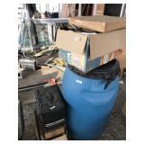 Large lot 55 gallon plastic barrel,  ceiling fan,