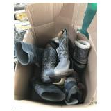 Lot with different size boots and shoes most are s