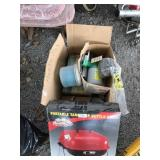 Lot with portable table top kettle grill and box w
