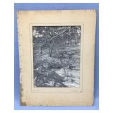 Matted old photograph of winter woodland scene, 13