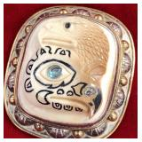 Sterling silver and mammoth ivory pin or pendant,