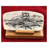 "Scrimshawed ivory, 3.75"" long x 2"" tall, sailing v"