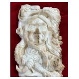 """Mammoth ivory relief carved, 4.5"""" tall x 3.5"""" wide"""