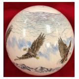 Scrimshawed ivory cue ball with 7 bald eagles, phe