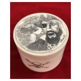 Ivory pill box scrimshawed with a pirate and his s