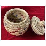"4"" Hooper Bay grass basket by Lucy Fletcher"
