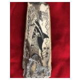 """Scrimshawed fossilized ivory artifact 4.5"""" long, s"""