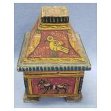"""Hand painted lidded wood box, about 8"""" tall"""