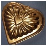 "Copper heart shaped bread mold 6.5"""