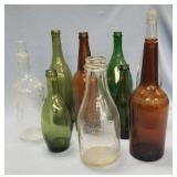 Lot of 9 antique glass bottles