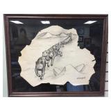 Robert Mayokuk charcoal on hide, drawing of a dog