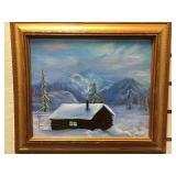 Michael Scott original oil painting of cabin in th