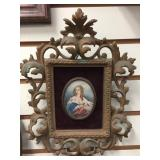 Ancient wood photo frame with print of lady, overa