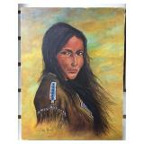 Lotte Renz original oil on canvas of a native Amer