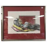 James Lee Clay framed ink on paper, of native Amer