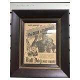 Framed newspaper advertisement for Bull dog malt l