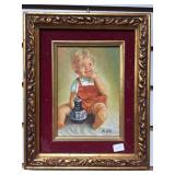 Original oil painting by Alain, of a young boy wit