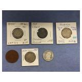 Lot of 6 older foreign coins, including 1910 Austr