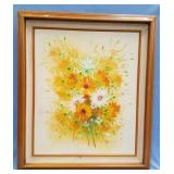 Original oil painting of a bouquet of flowers, fra