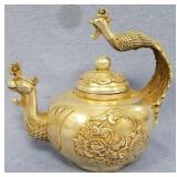 Silver alloy teapot with beautiful Chinese designs