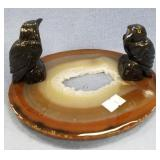 2 Black stone carved ravens on geode cross section