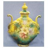 """Beautiful painted porcelain urn, 9.5"""" tall      (T"""