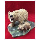 Stone carved bear with cub on mastodon jade slab b
