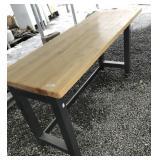Very nice wood top table on metal frame dimensions