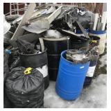 Large lot with aluminum cans, radiators, aluminum,