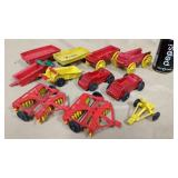 11 pcs. of rubber and plastic farm implements