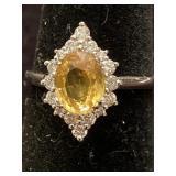 PLATINUM CUSTOM YELLOW SAPPHIRE AND DIAMOND RING