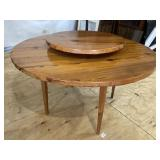 PINE TAPERED LEG LAZY SUZAN TABLE