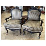 PR OF CARVED OPEN ARM DESIGNER CHAIRS