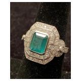 PLATINUM CUSTOM DIAMOND AND EMERALD RING 3.28 TCW