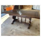 WALNUT HEAVY CARVED DRAW LEAF TABLE
