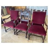 SET OF 6 HEAVY CARVED WALNUT CHAIRS