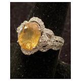 PLATINUM NATURAL YELLOW SAPPHIRE AND DIAMOND RING
