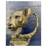 LARGE MARK HOPKINS BRONZE MOUNTAIN LION SCULPTURE