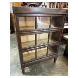 WALNUT 3 STACK BOOKCASE WITH TRIPLE PANE DOORS
