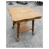 OVERSIZED OAK CENTER TABLE W EXTRA LARGE BALL AND