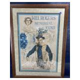 RARE WILL ROGERS SIGNED LITHO POSTER FRAMED