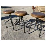 SET OF 3 IRON AND WOOD INDUSTRIAL BAR STOOLS