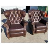 PR OF EXCEPTIONAL LEATHER RECLINERS