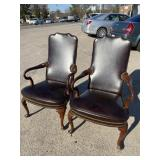 PR OF HICKORY CHAIR BROWN LEATHER CHAIRS